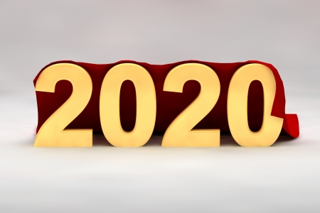 seasonal greeting: 2020 New Year in 3d yellow numerals draped in a rich red fabric from behind with copy space for your seasonal greeting Stock Photo