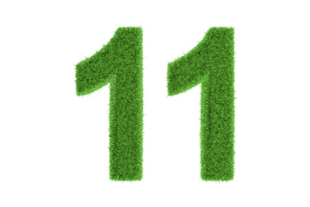 eleven: Number 11 with a fresh green grass texture and a three dimensional effect conceptual of an eco-friendly font and conserving nature, isolated on white