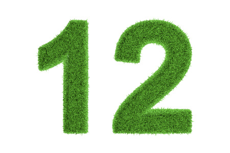 Number 12 with a fresh green grass texture and a three dimensional effect conceptual of an eco-friendly font and conserving nature, isolated on white Stock Photo