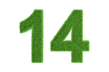 number 14: Number 14 with a fresh green grass texture and a three dimensional effect conceptual of an eco-friendly font and conserving nature, isolated on white Stock Photo