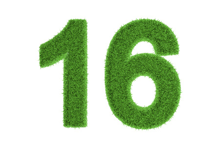 number 16: Number 16 with a fresh green grass texture and a three dimensional effect conceptual of an eco-friendly font and conserving nature, isolated on white