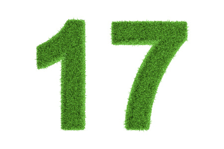 seventeen: Number 17 with a fresh green grass texture and a three dimensional effect conceptual of an eco-friendly font and conserving nature, isolated on white Stock Photo