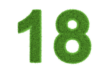 Number 18 with a fresh green grass texture and a three dimensional effect conceptual of an eco-friendly font and conserving nature, isolated on white photo
