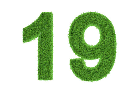 conserving: Number 19 with a fresh green grass texture and a three dimensional effect conceptual of an eco-friendly font and conserving nature, isolated on white