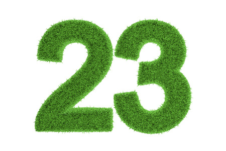 Number 23 with a fresh green grass texture and a three dimensional effect conceptual of an eco-friendly font and conserving nature, isolated on white Stock Photo
