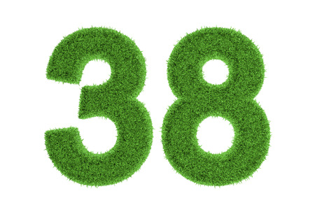 Number 38 with a fresh green grass texture and a three dimensional effect conceptual of an eco-friendly font and conserving nature, isolated on white