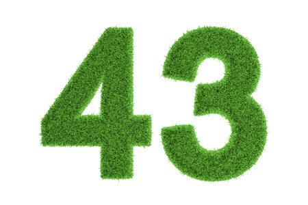 conserving: Number 43 with a fresh green grass texture and a three dimensional effect conceptual of an eco-friendly font and conserving nature, isolated on white Stock Photo