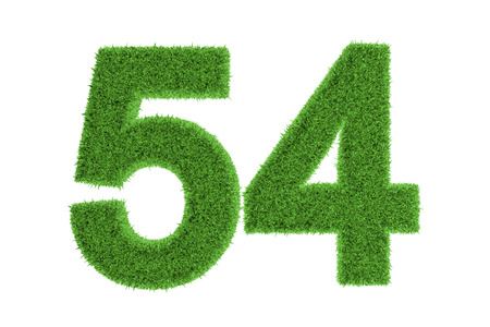 Environmentally friendly symbol of number 54, filled with green grass pattern, isolated on white background