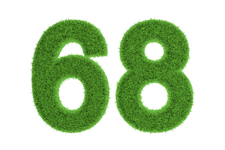 Green eco-friendly symbol of number 68  sixty-eight , filled with grass pattern, isolated on white background photo