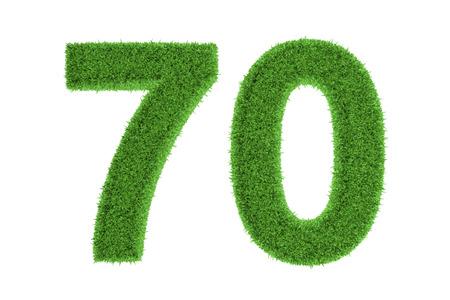 seventy: Verde eco-friendly simbolo del numero anniversario di 70 settanta, riempito con erba pattern, isolato su sfondo bianco Archivio Fotografico