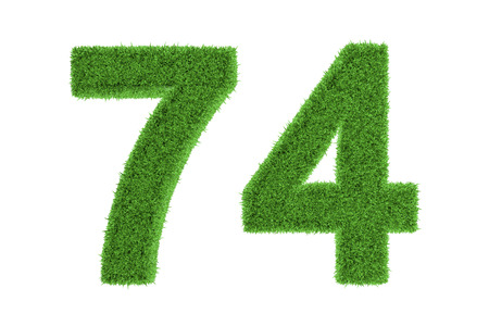 conserving: Number 74 with a green grass texture and a three dimensional effect conceptual of an eco-friendly font and conserving nature, isolated on white