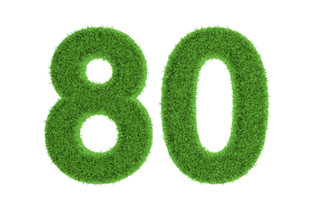 Number 80 with a green grass texture and a three dimensional effect conceptual of an eco-friendly font and conserving nature, isolated on white photo