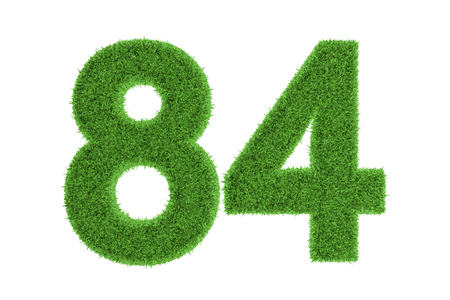 Number 84 with a green grass texture and a three dimensional effect conceptual of an eco-friendly font and conserving nature, isolated on white photo
