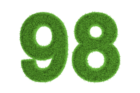 Number 98 with a green grass texture and a three dimensional effect conceptual of an eco-friendly font and conserving nature, isolated on white