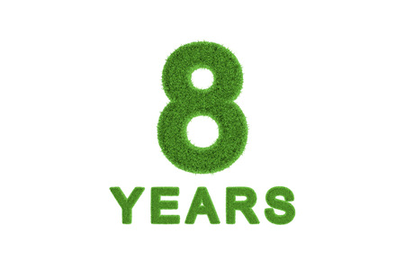 Decorative three-dimensional 8th anniversary or birthday celebration numeral with the number and text in textured fresh green grass for an eco-friendly greeting or congratulations photo