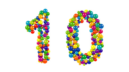 Various sized green, red, blue and yellow balls in the shape of the number ten over white background