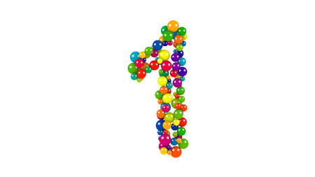 Various sized green, red, blue and yellow balls in the shape of number one over white background