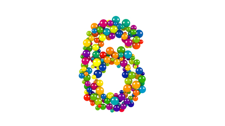 Various sized green, red, blue and yellow balls in the shape of the number six over white background Stock Photo