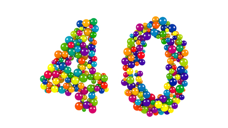 Decorative brightly colored number 40 formed of small balls of different diameters in the colors of the rainbow for use as a design element