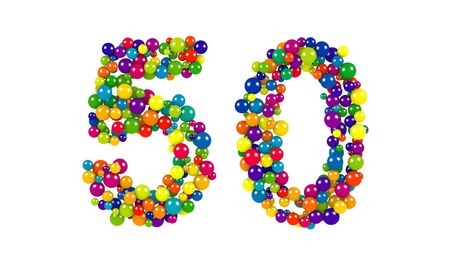 diameters: Colorful dynamic number 50 for a golden jubilee celebration or festive event formed of small multicolored balls in the colors of the rainbow isolated on white Stock Photo
