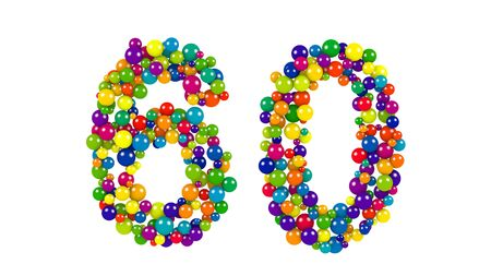 Colorful balls in red, blue, yellow, orange and green forming the number 60 over white background