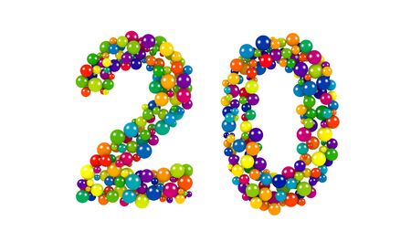 Various sized green, red, blue and yellow balls in the shape of number twenty over white background Stock Photo