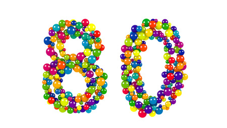 Colorful red, blue, yellow, green and blue balloons forming the number 80 over isolated background Stock Photo