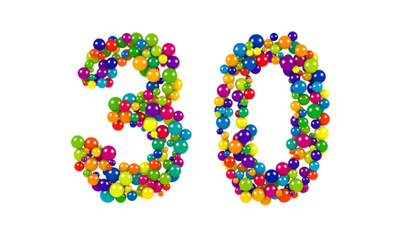 Number 30 formed of decorative rainbow colored balls of various diameters isolated on white in a decorative font for a festive event Stock Photo