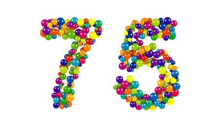 diameters: Festive brightly colored number seventy-five, 75 formed from rainbow colored balls of different sizes on a white background for use as a design element