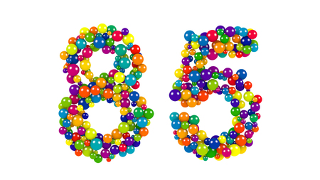Number 85 formed of colorful balls in the colors of the rainbow for a festive occasion or anniversary isolated on white