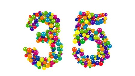 Round rainbow colored balls forming the number 35 in an ornamental design for a festive occasion isolated on white