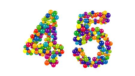 Number 45 over white background in red, purple, blue, yellow, green and orange balls over white background Stock Photo