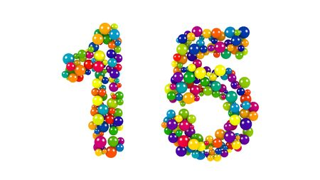 Various sized green, red, blue and yellow balls in the shape of number fifteen over white background