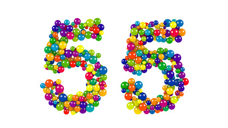 counting five: Number 55 over white background in colorful red, purple, blue, yellow, green and orange balls over white background Stock Photo