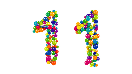 Various sized green, red, blue and yellow balls in the shape of number ten over white background Stock Photo