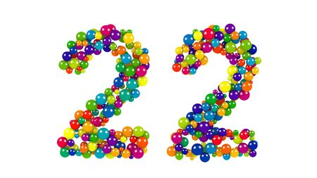 Various sized green, red, blue and yellow balls in the shape of number twenty two over white background