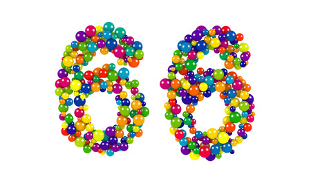Colorful balls in red, blue, yellow, orange and green forming the number 66 over white background Stock Photo