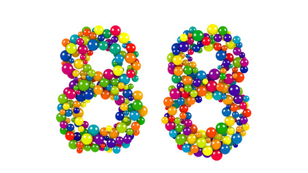 Colorful red, blue, yellow, green and blue balloons forming the number 88 over isolated background Stock Photo