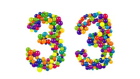 diameters: Number 33 in a decorative design of round balls of different diameters in the colors of the spectrum on a white background with copy space