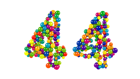 Number 44 over white background in red, purple, blue, yellow, green and orange balls over white background Stock Photo