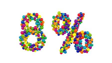 Colorful red, orange, yellow, blue and green spheres in the shape of eight percent over isolated white background