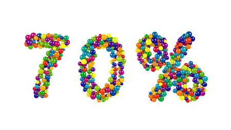 Festive multicolored 75 percent sign on white formed of small balls in the colors of the rainbow arranged in a dense decorative pattern for promotional offers and marketing