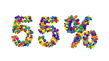 55 percent sign formed of vibrant spheres or balls closely packed in a festive design for use as a template for advertising and marketing Stock Photo