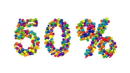 50 percent sign in colorful balls and spheres in the colors of the spectrum densely packed to form the numbers for a festive event, promotion, business advertising or education