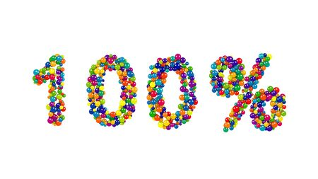 Vibrant festive 100 percent sign formed of multicolored balls in the colors of the spectrum over a white background for use as a design template for advertising