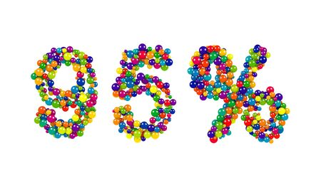 Decorative rainbow colored 95 percent sign formed of densely packed small spheres over a white background for use as a design template