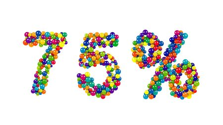 75, seventy-five percent, symbol in festive colors formed of rainbow colored balls over a white background for promotional advertising Stock Photo