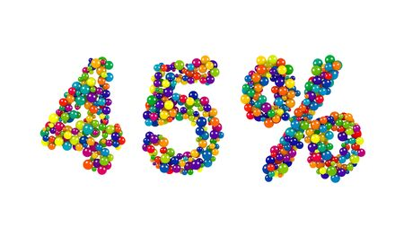 45 percent symbol in bright dynamic colors with rainbow colored balls and spheres forming the numbers isolated on white for advertising and marketing or education
