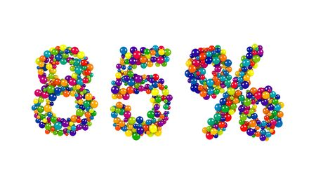 over packed: 85 percent sign in decorative vibrant colored balls densely packed to form the numbers over a white background for use as a design element for promotional advertising