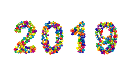 over packed: 2019 New Year date in a festive colorful ball pattern of tightly packed spheres in the colors of the rainbow over a white background for a holiday template